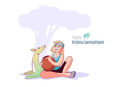 Krishna Janmashtam indian god vector design graphic illustration
