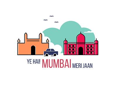 MUMBAI CITY india poster logo graphic design illustration