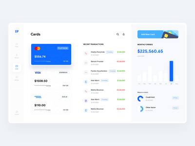 Credit card management - Banking Dashboard part 2 flat dashboard dashboard management dashboard sidebar money transfer credit score finance statement bank statement pie chart finance graph graph transaction ui credit card ui card ui transfer ui wallet dashboard dashboard ui finance dashboard banking dashboard