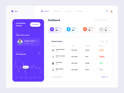 Invoice management platform Dashboard - Part 2 dashboard ui client list dashboard graph graph ui earning graph earning stat invoice stat invoice list invoice ui invoice maker invoice generator freelancer invoice send invoice build invoice invoice dashboard invoice builder