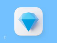 Sketch icon - Premium version ios app sketch icon sketch app macos icon 3d icon 3d app icon app icon