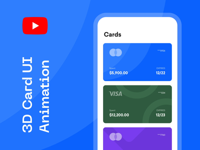 3D Card UI Animation tutorial on YouTube after effects tutorial 3d card tutorial interaction animation card animation tutorial 3d card animation youtube tutorial animation tutorial card animation
