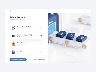Product Selection | Multi Shipment UI dashboard process bottom bar pack ui swag pack swag process process ui assembly line production 3d production ui product shipment shipment ui multi shipping swag item product ui select product