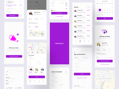 Rent a scooter - Sharing an old project minimal ui receipt timeline view map view sign up app ride ui scooter app ride sharing ios app mobile app rental app bike rental app rent bike rent scooter