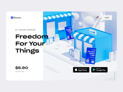 Store your luggages anywhere in the City - Bounce luggage store luggage 3d hero illustration 3d hero minimal app package app package acceptance package storage luggage storage ios app bounce luggage storage cheap luggage storage bag storage app bag storage locker app luggage storage app locker storage luggage storage