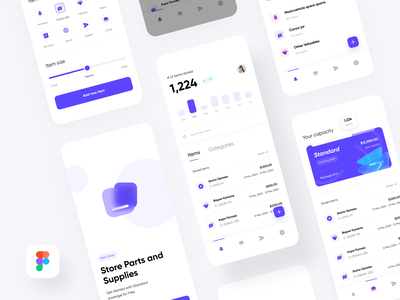 Storelot - Store your items in bulk - IOS app storage app bulk app bulk storage storage ui mobile graph graph ui card view bottom bar product onboarding category selector inventory management inventory tracker track inventory shipment app shipping ui shipping app ship item inventory app inventory ui