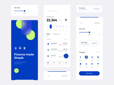 finance d   dribbble warehouse app product management product storage product category bottom bar upload component upload file navigation component slider component components navigation category selector size slider slider product list list view onboarding screen dark color weekly view week ui