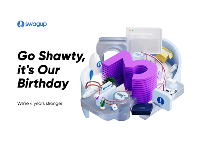 SwagUp 4th year anniversary anniversary 3d swag animation blender animation 3d blender blender 4 3d 3 3d floating animation 3d composition 3d birthday birthday 3d birthday animation 3d animation swag anniversary swagup swag pack swag anniversary birthday
