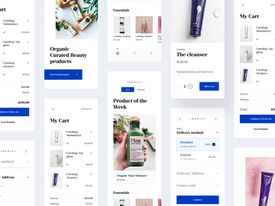 Organic Beauty Product Store | Light | Mobile Ecommerce App ecommerce product product ui product details ecommerce bottom bar ecommerce onboarding organic product app minimal flow checkout mobile app mobile checkout checkout ui app checkout organic product organic app shop app minimal mobile shop ecommerce ui ecommerce app e-commerce ecommerce onboarding ui