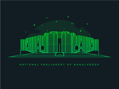 National Parlament of Bangladesh louis kahn jatiya sangsad bhaban line art gradient illustration dhaka illustration dhaka bangladesh illustration