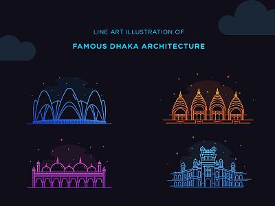 Line Art illustration Project gradient illustration dhaka illustration dhaka bangladesh illustration flat design line art