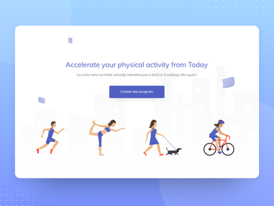 Physical activity training program UI payment app web illustration header ui landing page isometric illustration isometric illustration