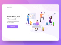 Build your own community | Landing page | Illustration