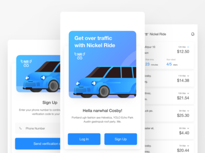 Ride sharing App | Nickel Ride | Electric Car illustration