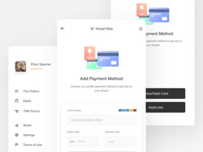 Payment option UI | Nickel Ride