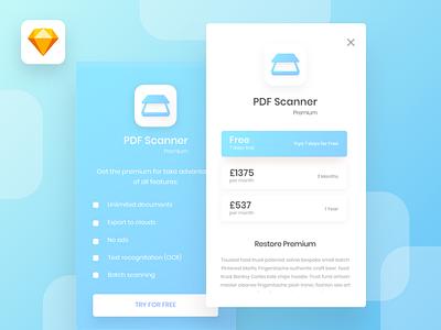 popup page UI for PDF Scanner app mvp minimal app ios app iphone app popup ui popup scanner app pdf app pdf scanner