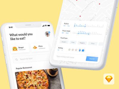 Find Food | Restaurent App concept food app food search restaurent app iphone x ios app freebie nearby