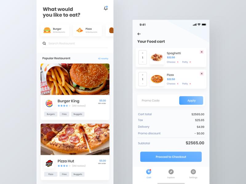 Food finder app UI kit | Cart page | iPhone X cart app restaurent app free ui kit app ui kit delivery app food ui kit freebie ui kit