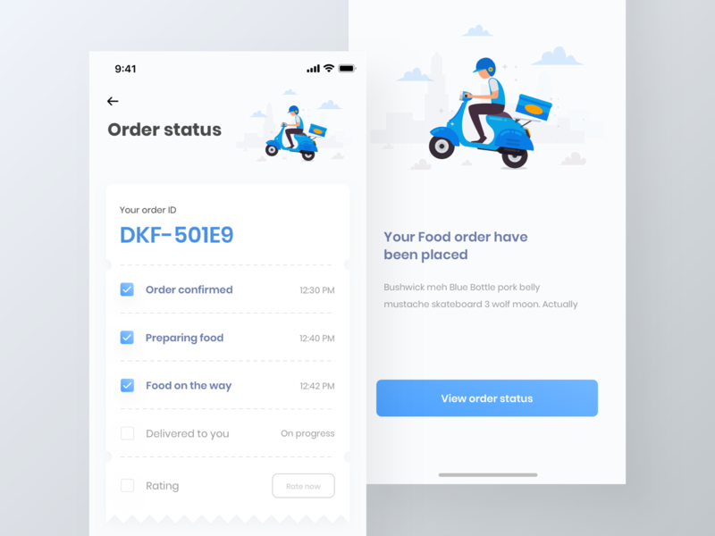 Food finder app UI kit | delivery status page | iPhone X iphone x ui kit flat ui app design freebie free ui ki delivery ui kit food ui ki restaurent ui kit food app restaurent app