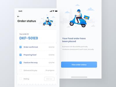 Food finder app UI kit | delivery status page | iPhone X iphone x ui kit flat ui app design freebie free ui ki delivery ui kit food ui ki restaurent ui kit food app restaurent app