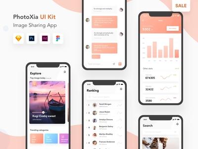 Photoxia - Image sharing app UI kit   On sale