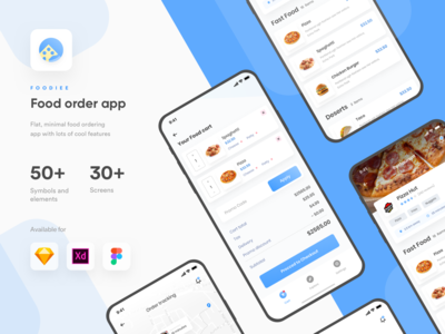 Foodiee   Food ordering App UI kit   Sketch   Figma   XD