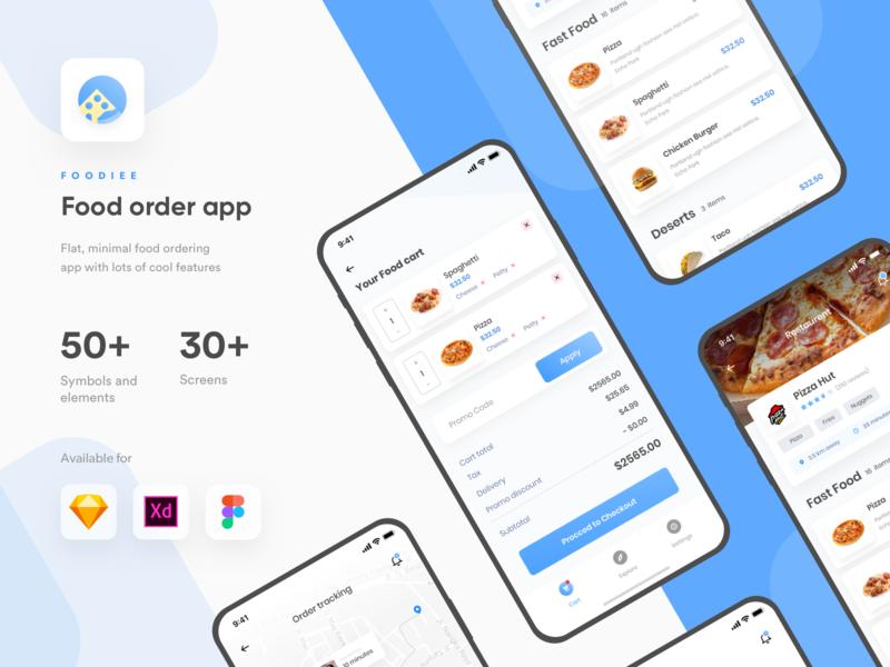 Foodiee | Food ordering App UI kit | Sketch | Figma | XD by