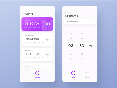 Fun Alarm app UI app design ui design ios app flat ui minimal ui timer app stop watch reminder alarm app