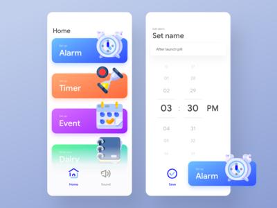 Fun Alarm app UI   Home