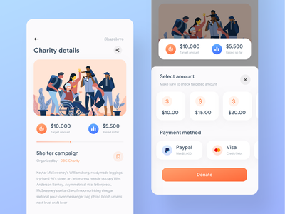 Payment screen   Charity app charity payment ios app flat ui charity campaign charity app donation app donation campaign