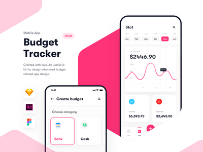 Budget Tracker - Financial app UI kit - Sketch XD Figma ios ui kit sketch symbol app ui kit ui kit ui content ui element budget app transaction money wallet daily budget expense income money tracker mobile app iphone x ios app