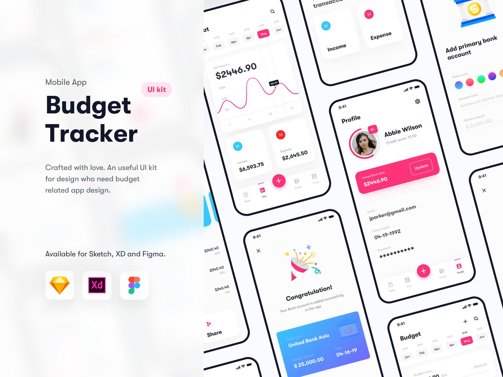Budget Tracker - Financial app UI kit - Sketch XD Figma by Shojol