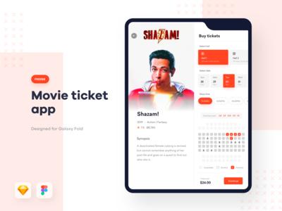 Movie ticket app + Galaxy fold mockup - FREEBIE