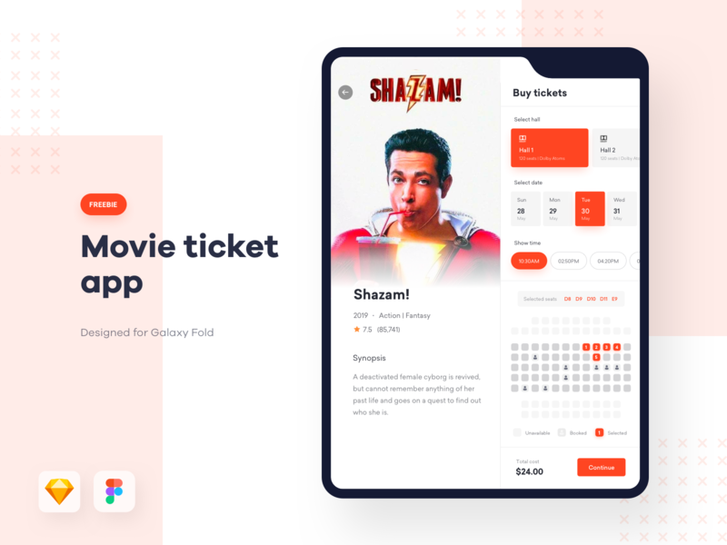 Movie ticket app + Galaxy fold mockup - FREEBIE free ui kit galaxy fold ui galaxy fold mockup freebie dark app galaxy fold app galaxy fold movie app ticket app movie ticket cinema app cinema ticket web app design samsung galaxy fold