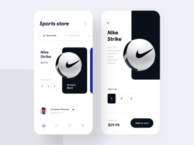 Sports equipment shop - Mobile App UI