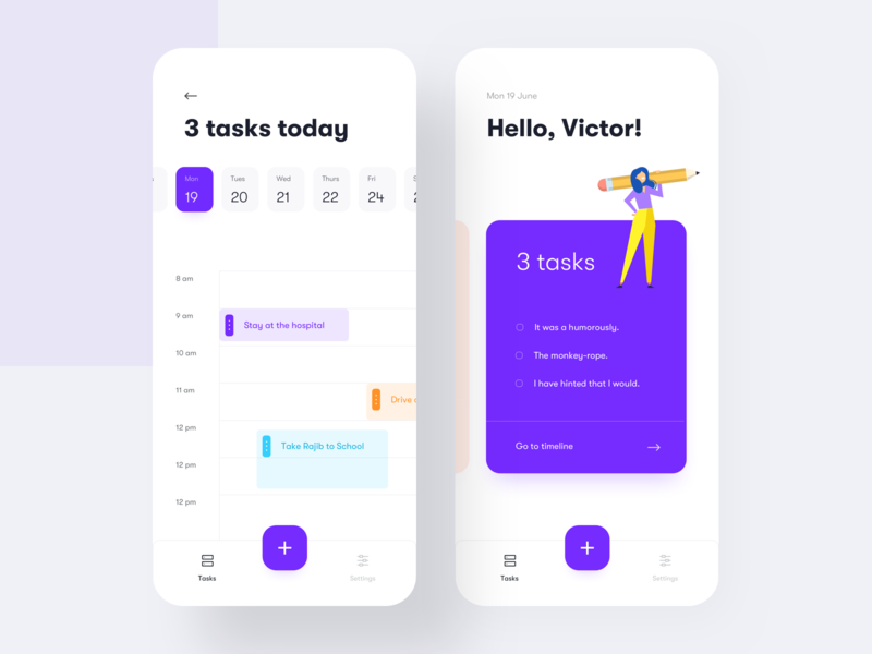 Task manager app hourly view task view hourly rate date view date selection flat ui app illustration ios design ios app tasker app task management task app to do list to do app to-do minimal ui mobile app design
