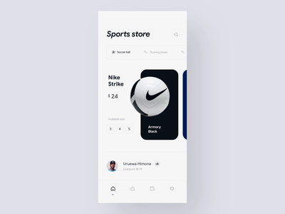 Sports equipment shop - Mobile interaction ecommerce app ecommerce e-commerce mobile app design minimal ui football app nike app sports app cart store app sports store store ui shop ui ui animation scroll animation store animation product animation interaction mobile interaction interaction design