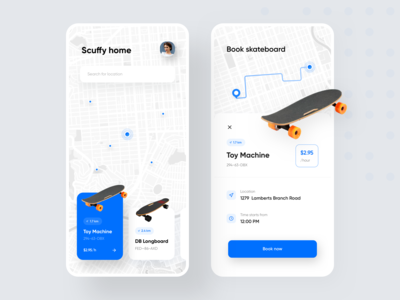 Skateboard finder app map app map ui skateboard map finder uber map marker modular design map view skateboard app mobile app design minimal ui ios app ios design app illustration flat ui