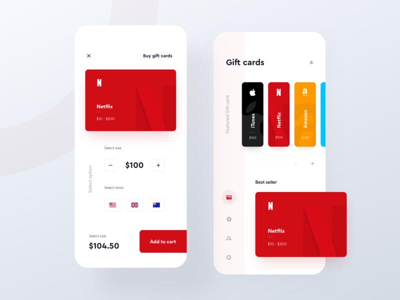 Gift card store - Mobile app minimal ui app ui vertical menu card ui amazon gift card netflix gift card google play gift card itunes gift card gift card store gift card app gift card