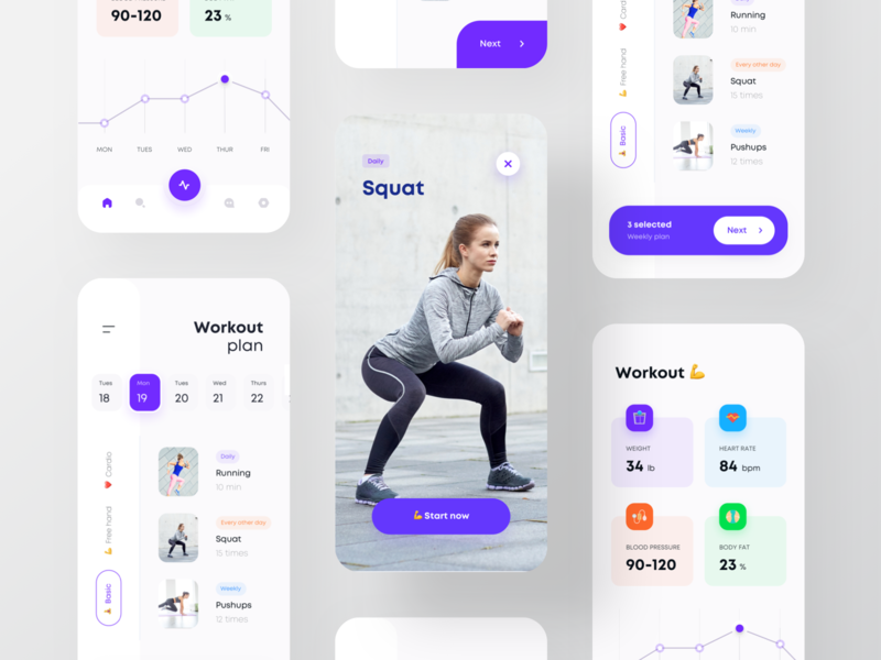 Workout app for women flat ui ios app stat workout stat get started onboarding splash screen card app list view card view graph blood pressure weight loss squat fitness app workout app fitness workout