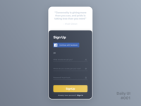 Daily UI Challenge #001 - Sign Up Screen