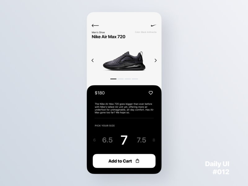 Daily UI Challenge #012 - E-Commerce Shop (Single Item) product page product nike app shopping ecommerce app ecommerce dailyui 012 dailyui ux ui