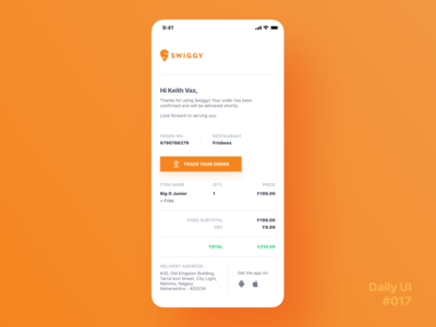 Daily UI Challenge #017 - Email Receipt