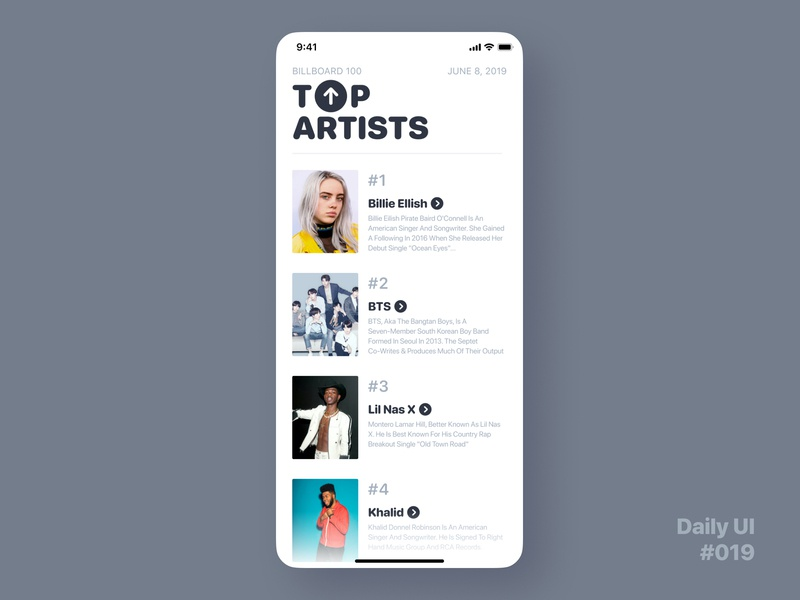 Daily UI Challenge #019 - Leaderboard figmadesign ux dailyui 019 dailyuichallenge dailyui ui artists music list top charts charts leaderboard