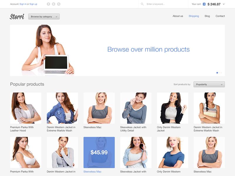 Storri e-commerce theme web website web design webdesign ecommerce store shop e-commerce minimal bootstrap carousel light