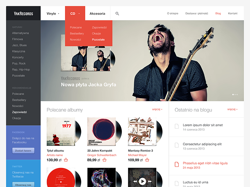 Vinyl records store web website web design webdesign ecommerce store shop e-commerce bootstrap carousel light