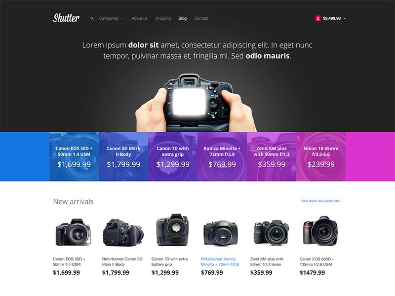 Shutter e-commerce theme web website web design webdesign ecommerce store shop e-commerce bootstrap light