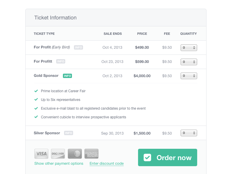 Ticket information by pawel kadysz dribbble for Table design jquery ui