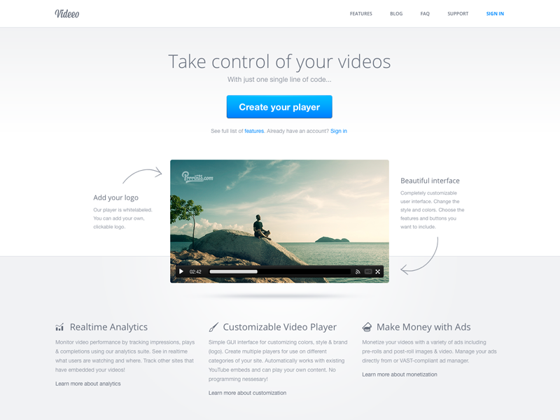 Video player landing page web website web design landing landing page form call to action video player video player minimal