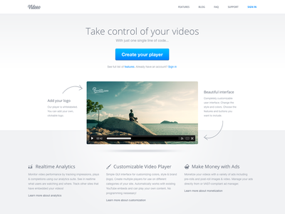 Video player landing page